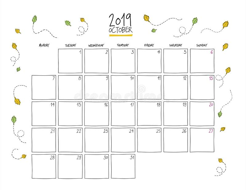 October 2019 Wall Calendar. Doodle Style. Stock Vector