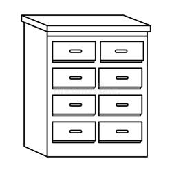 Office Drawer Furniture Cartoon Isolated In Black And White Stock Vector Illustration of bedroom open: 156067291