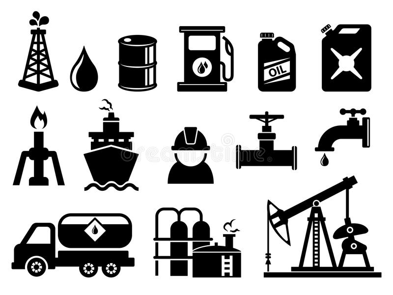 Oil and petroleum icon set stock vector. Illustration of