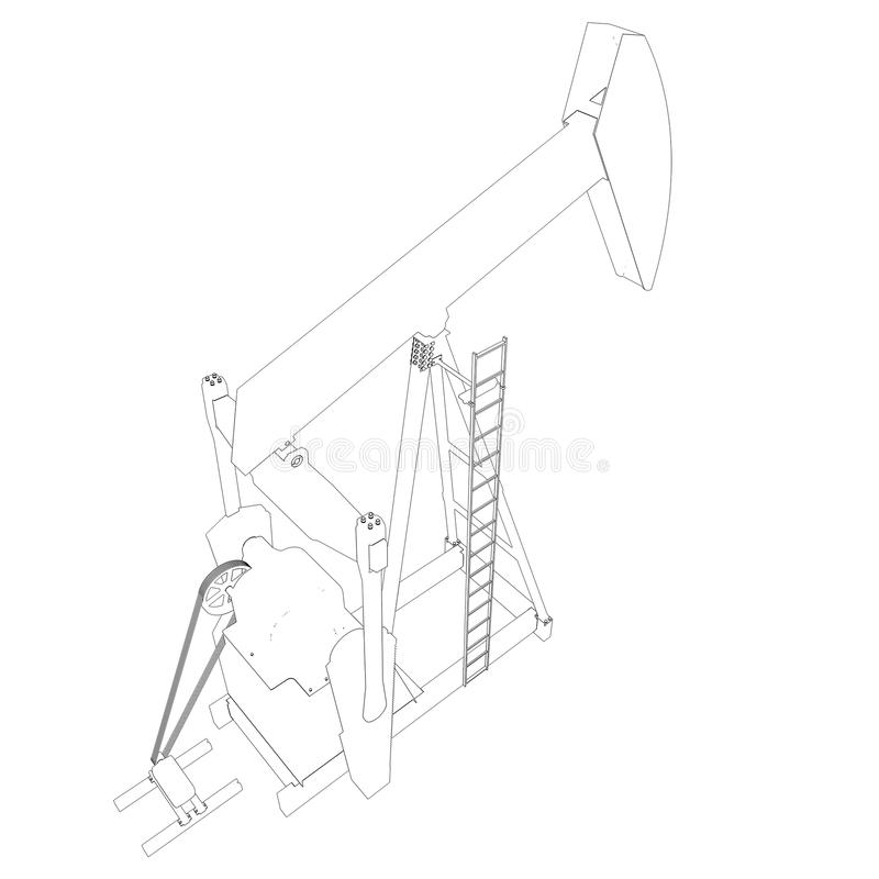 Oil pump. Wire frame stock illustration. Image of fuel