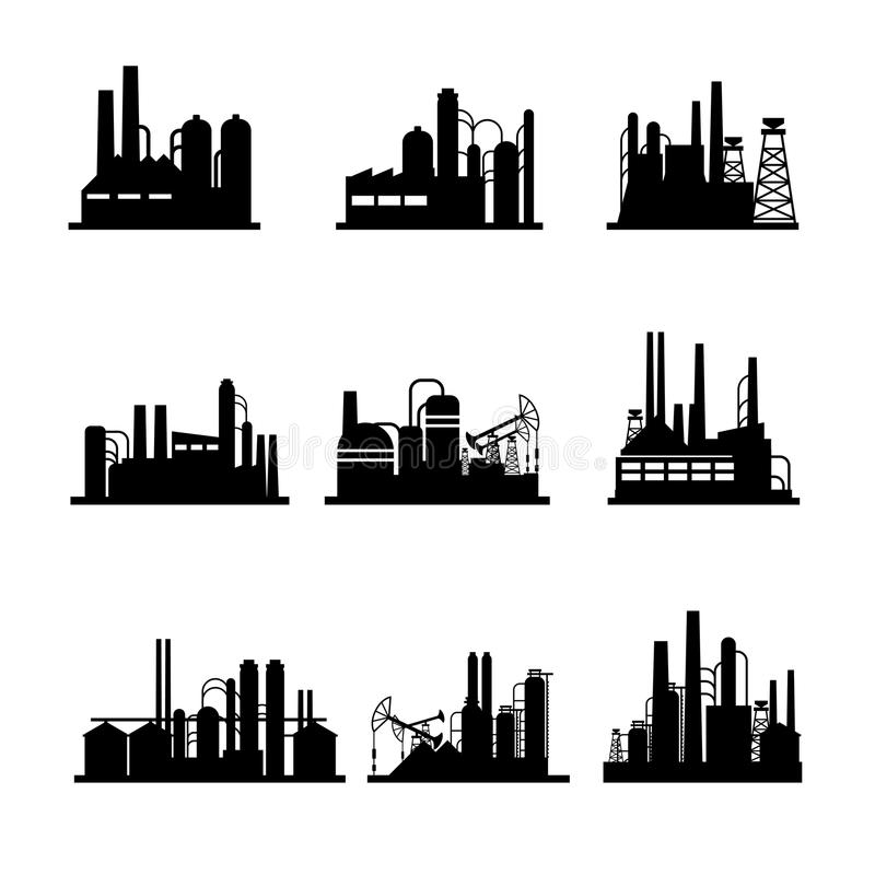 Oil Refinery And Oil Processing Plant Icons Stock Vector