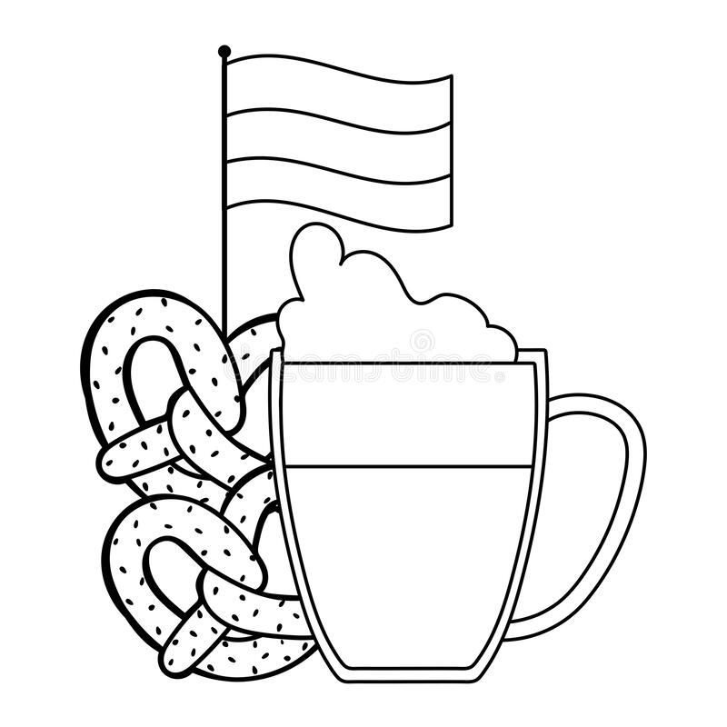 Becher Bier Mit Brezeln. Oktoberfest Vektor Abbildung