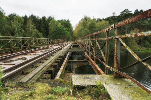 rusty railroad bridge stock