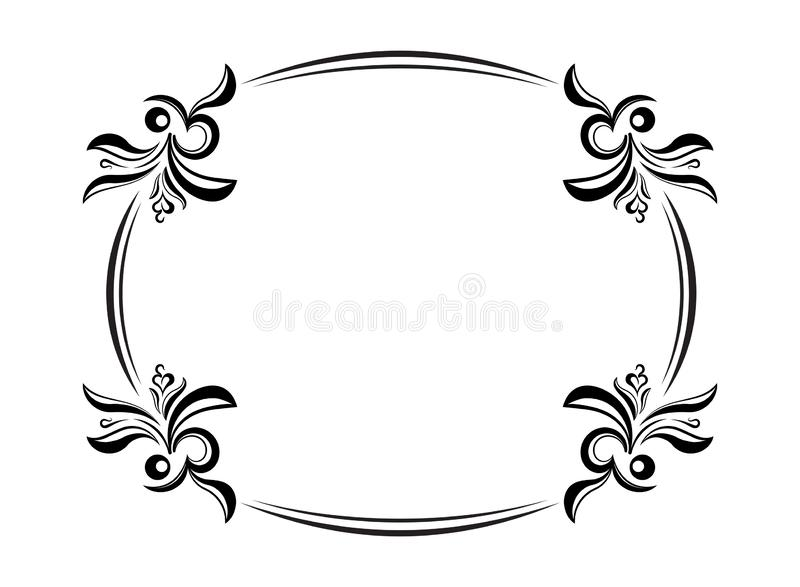 Old Black Oval Frame With A Blank Space For Text. Retro