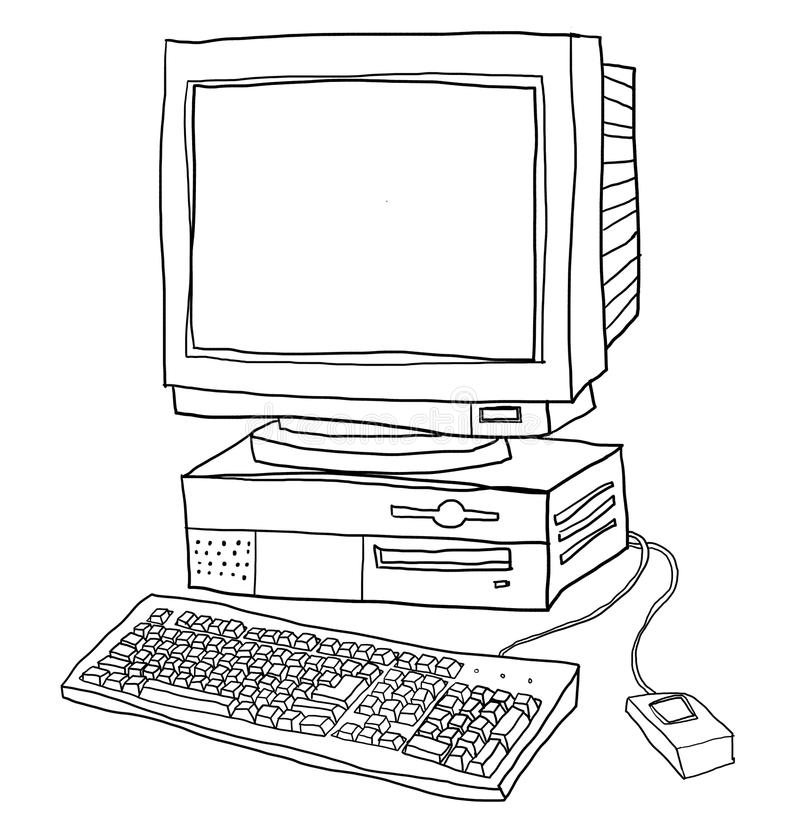 Old Computer Desktop Line Art Illustration Stock
