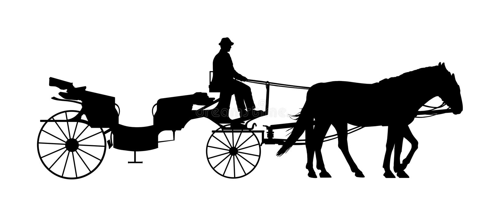 Old Style Carriage With A Coachman Silhouette Stock
