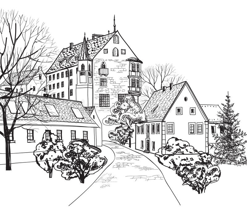 Old Town Cityscape With Street. Sketch Of Historic