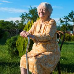 Outdoor Chair For Elderly Wooden High Tray Old Woman Sitting On A With Cane Stock Image - Of Person, Senior: 41659381