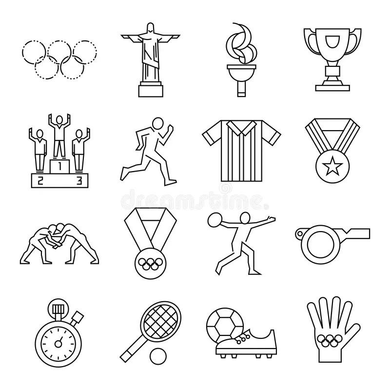 Winning Award Line Icons Circle Stock Vector