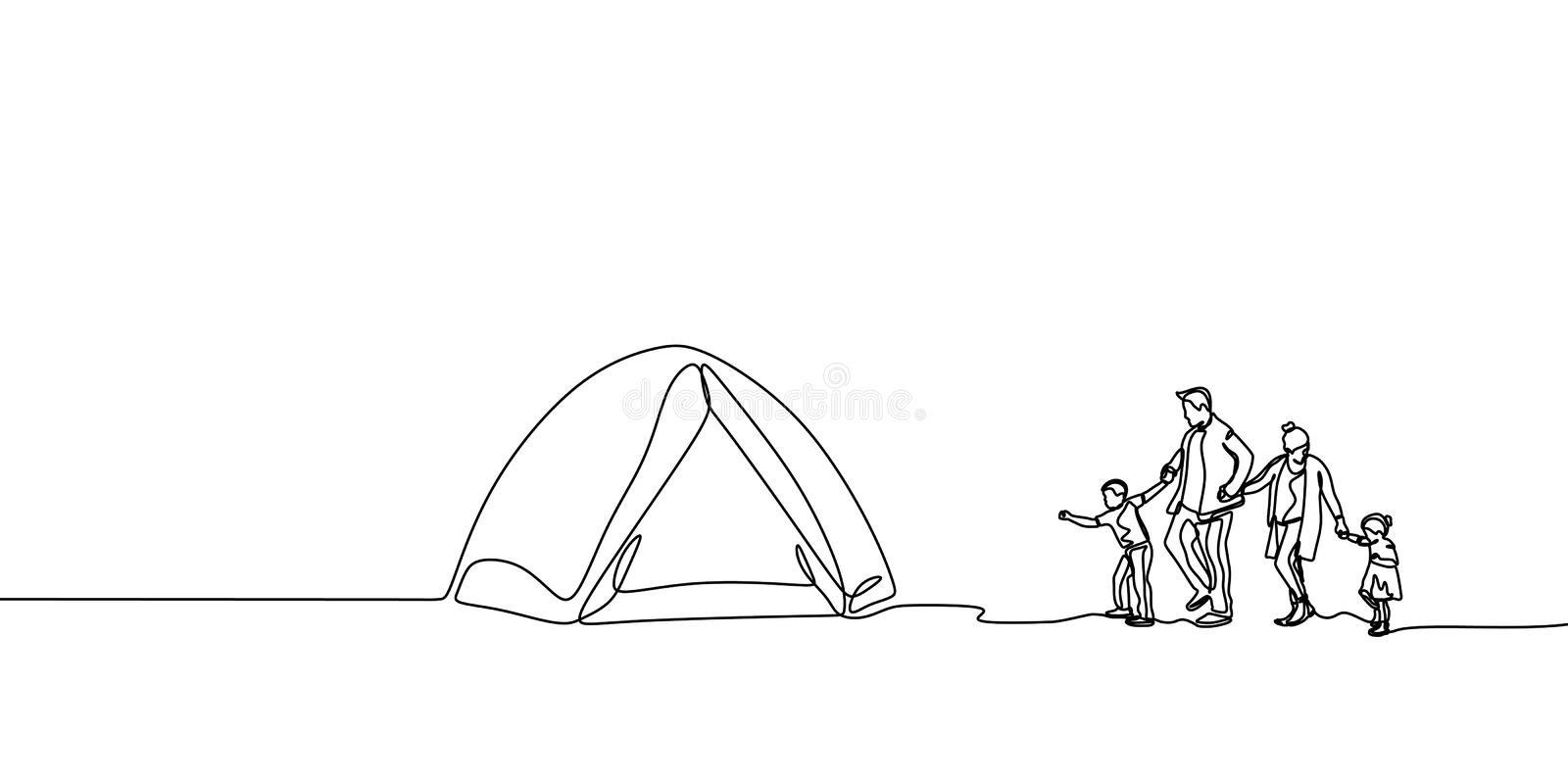 Family Camping Stock Illustrations