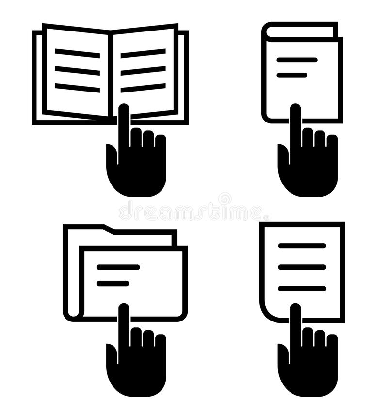 Open document icon set stock vector. Illustration of click