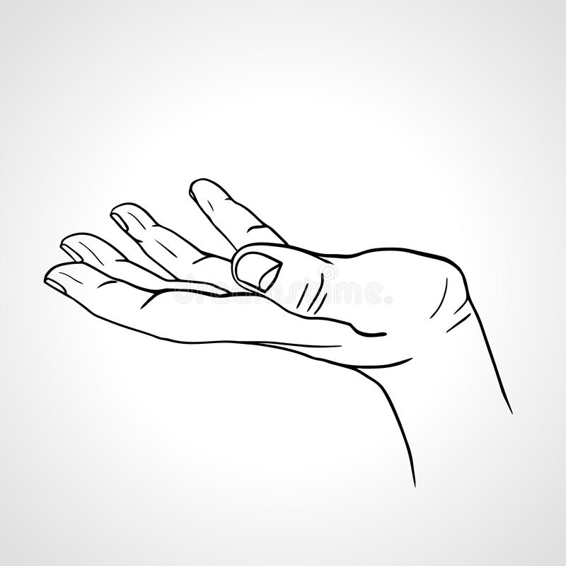 Open Empty Hand Drawn Hand, Side View Stock Vector