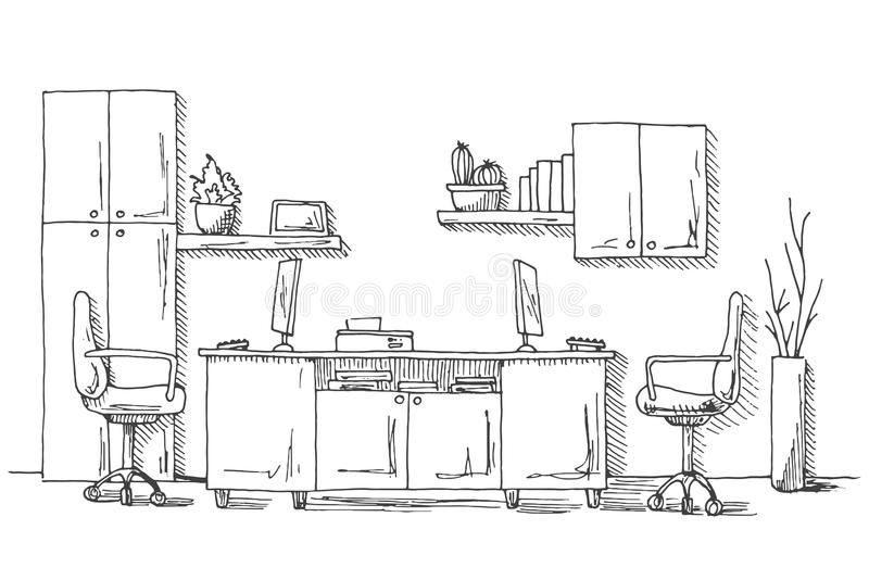 Outline Sketch Of A Interior Meeting Room Stock
