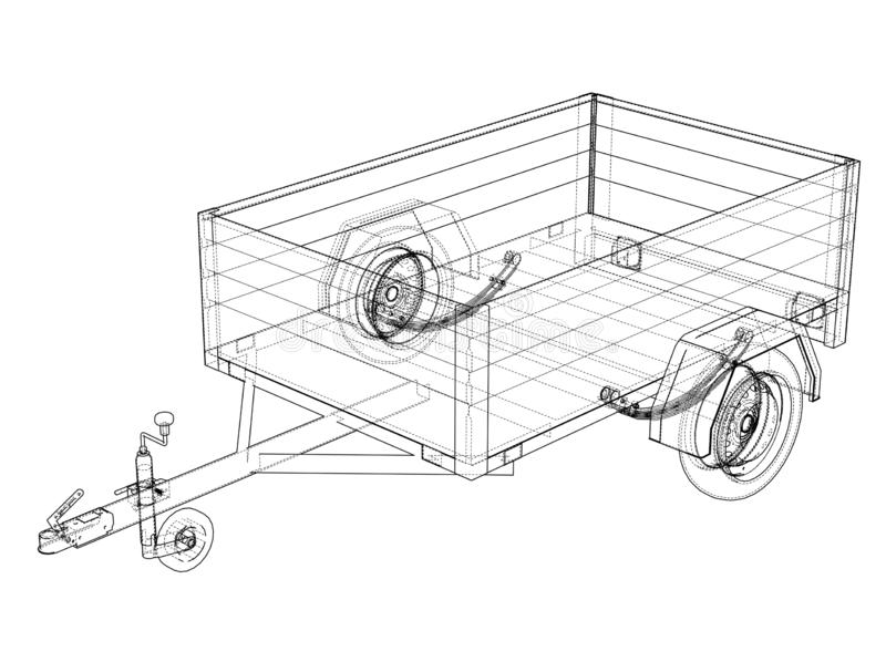 Open Trailer Sketch. 3d Illustration Stock Illustration