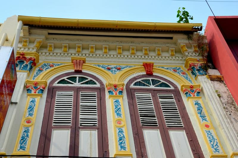 Ornate Decorated Shophouse Windows Shutters And Wa
