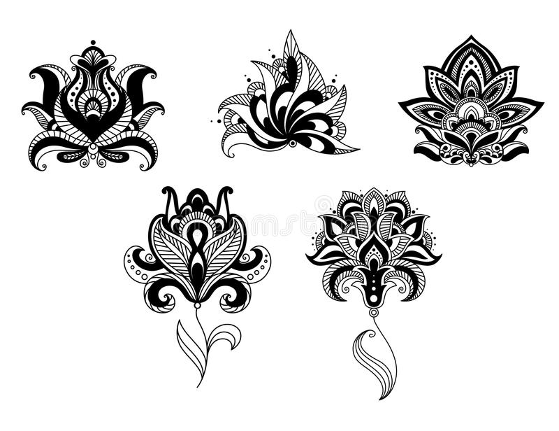 Ornate Indian And Persian Floral Design Set Stock Vector