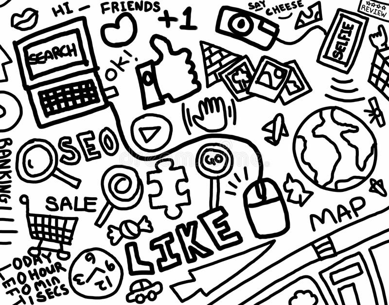 Our Internet World Doodles Art Drawing Stock Image