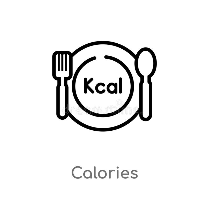 Outline Calories Vector Icon. Isolated Black Simple Line