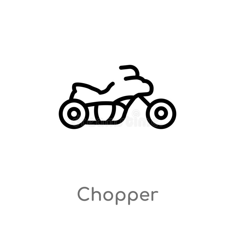 White Line Chopper Motorcycle Vector Symbol Design Stock