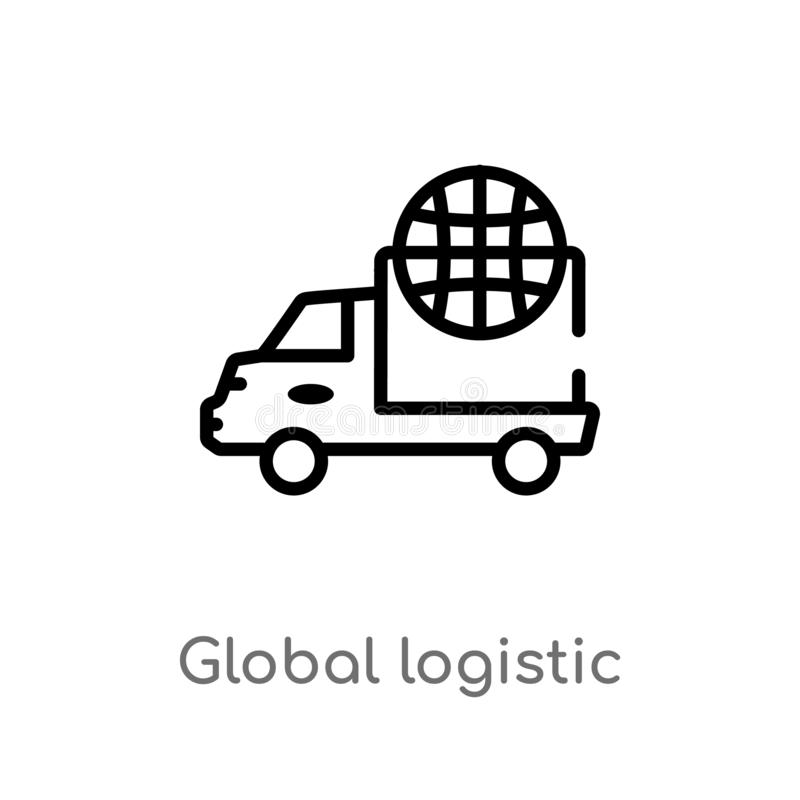 Global Shipping Box Outline Icon Stock Vector