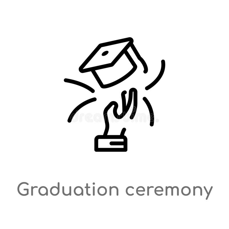 Graduation Ceremony Outline Icon. Isolated Line Vector