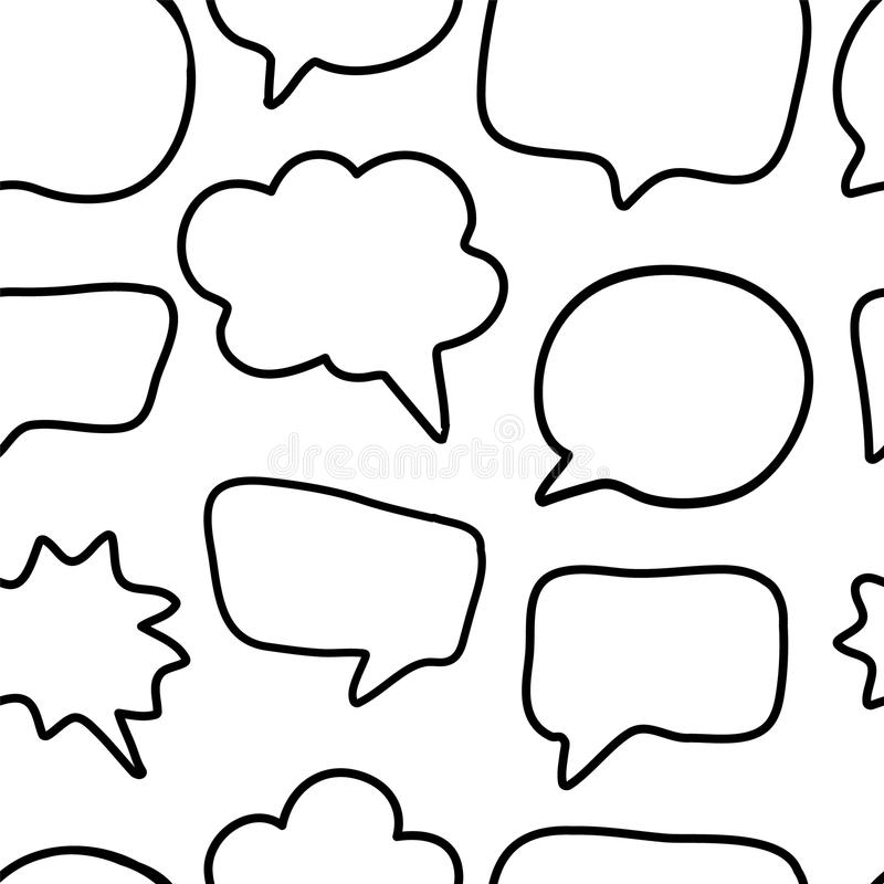 Hand Drawn Seamless Pattern With Speech Or Thought Bubbles