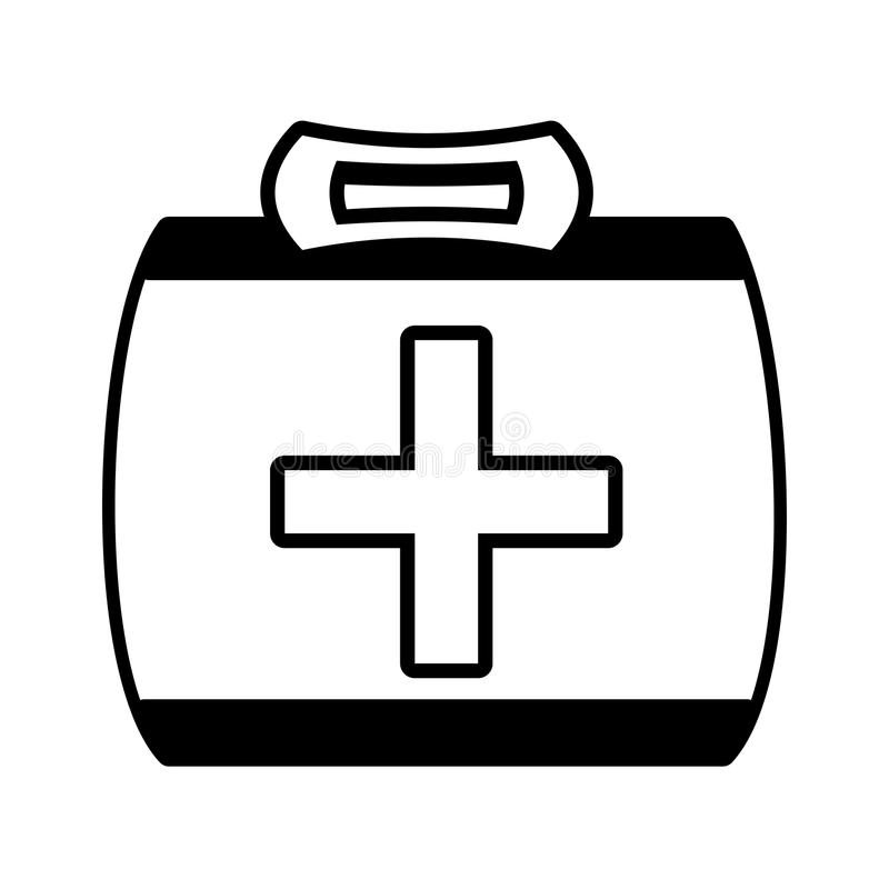Outline Kit First Aid Cross Emergency Medical Stock Vector