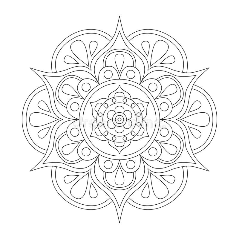 Outline Mandala For Coloring Book. Anti-stress Therapy