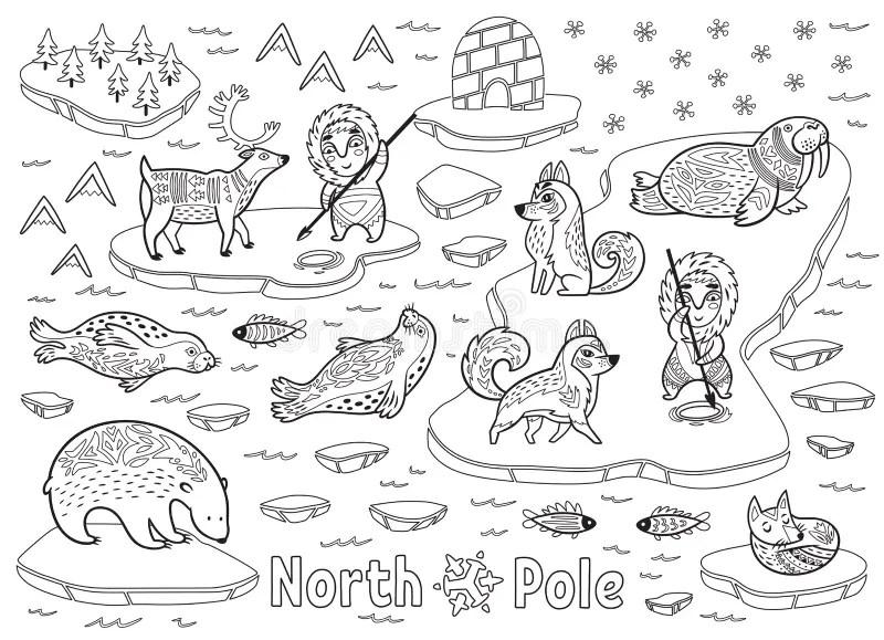Outline North Pole Animals, Eskimos And Yurt Stock Vector