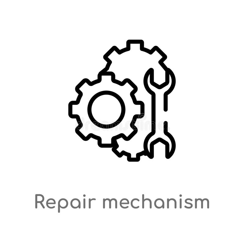 Manufacturing Icon. Gear And Wrench. Service Symbol. Flat