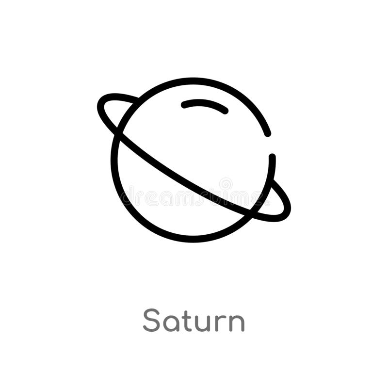 Saturn Line Icon. Astronomy Vector Illustration Isolated