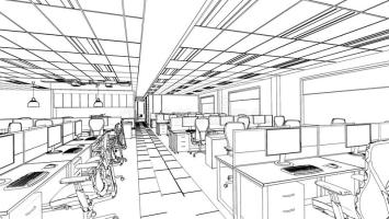 Outline Sketch Of A Interior Office Area Stock ...