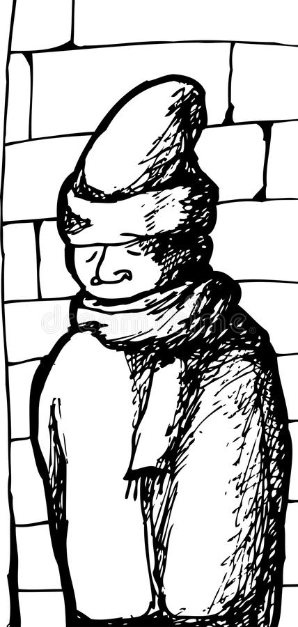 Man in Winter Hat stock vector. Illustration of drawn