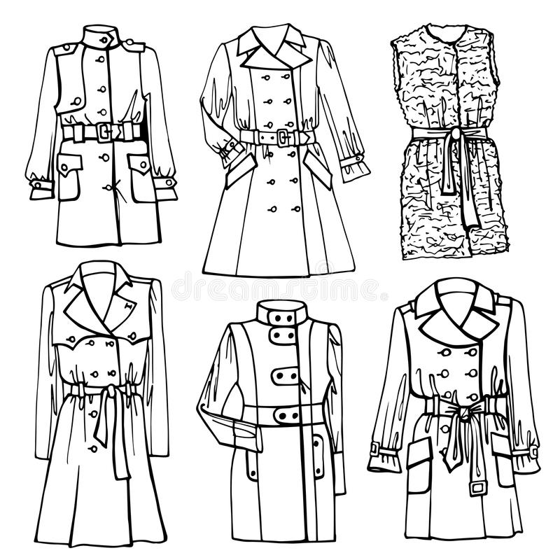 Outline Sketchy Clothing.Females Coat Set Stock Vector
