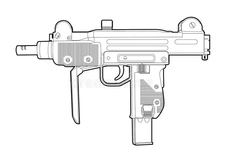 Outline uzi stock vector. Illustration of bomb, bullet