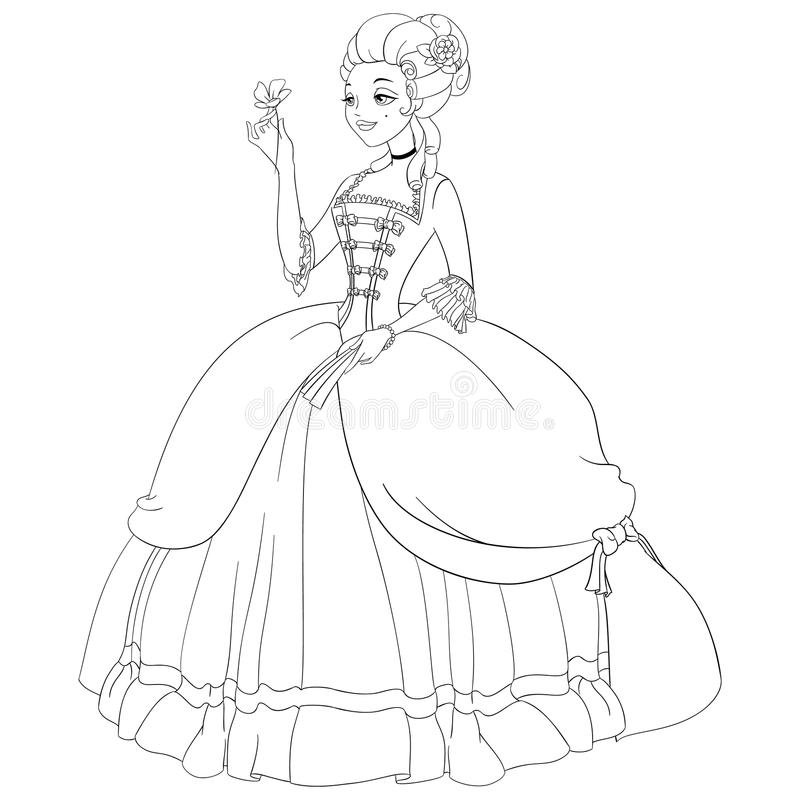 Outlined Indian Girl In Sari. Coloring Page Vector