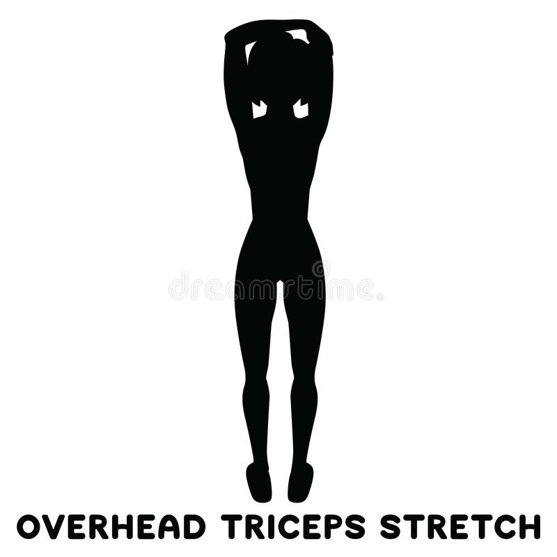 Overhead Triceps Extension Workout Stick Figure Reference