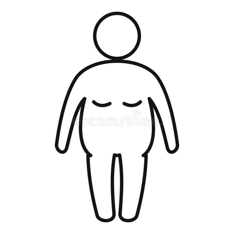Overweight Student Icon, Outline Style Stock Vector