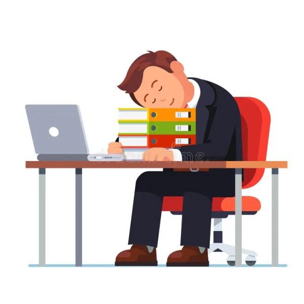 overworked businessman falling