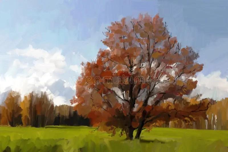 Paesaggio con la quercia illustrazione di stock Illustrazione di olio  6734581