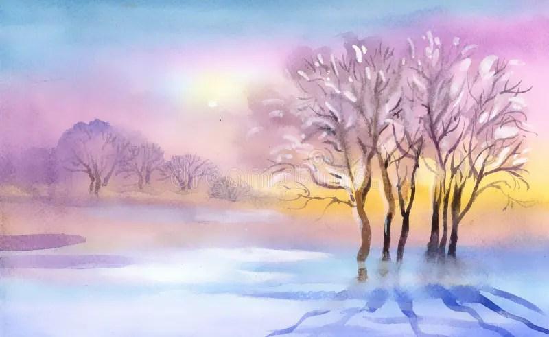 Paesaggio Dellacquerello Del Paesaggio Illustrazione di Stock  Illustrazione di gennaio gelo