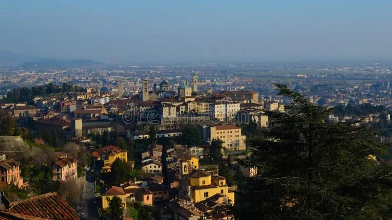 Paesaggio Di Citta Alta A Bergamo Fotografia Stock