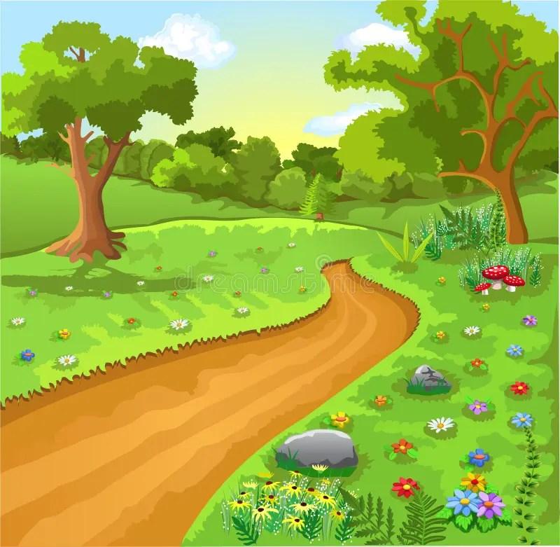 Paesaggio Naturale Del Fumetto Illustrazione Vettoriale  Illustrazione di fumetto ambiente