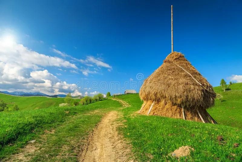 Paesaggio Rurale Con La Balla Di Fieno La Transilvania Romania Europa Immagine Stock
