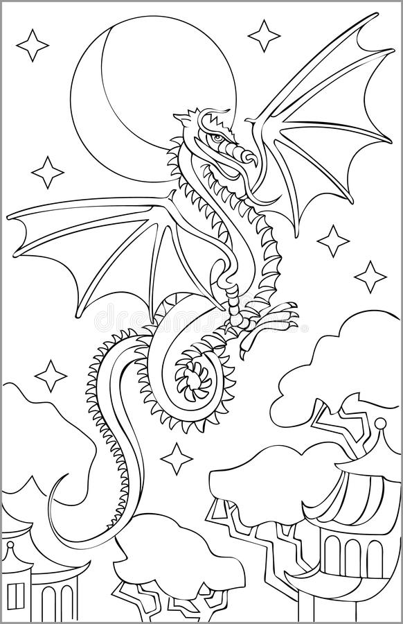 Page With Black And White Drawing Of Dragon For Coloring