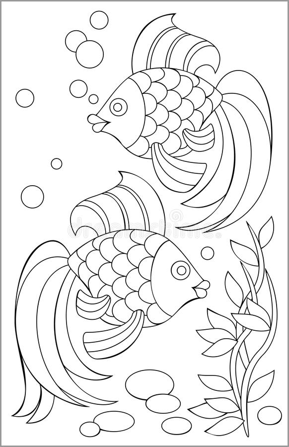 Page With Black And White Drawing Of Fishes For Coloring