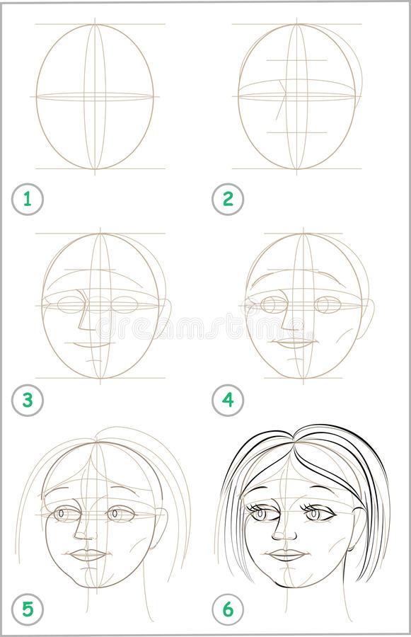 Page Shows How To Learn Step By Step To Draw Girls Head