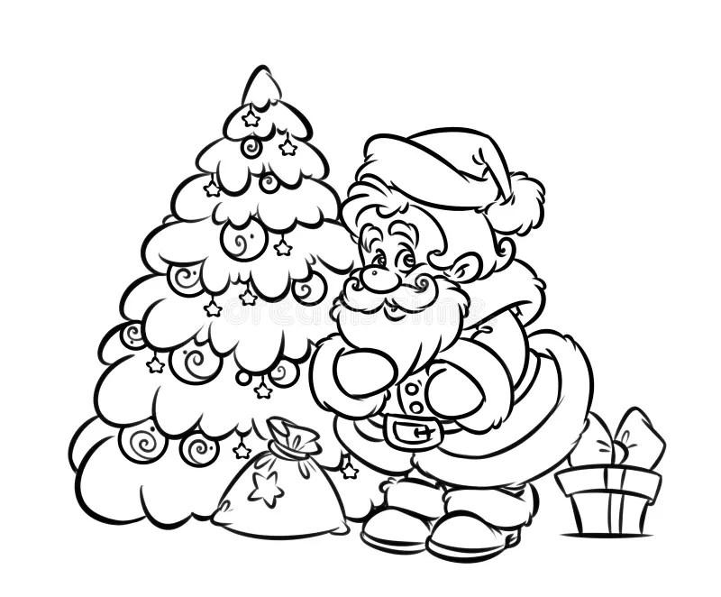 Pagina Di Coloritura Del Regalo Dell'albero Di Santa Claus