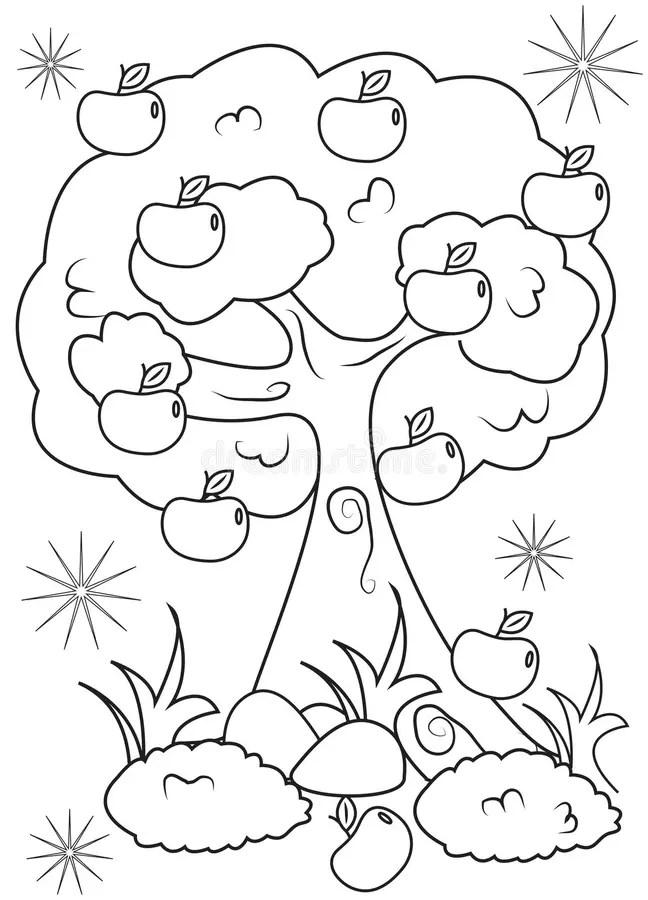 Pagina Di Coloritura Di Melo Illustrazione di Stock