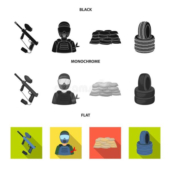 Paintball Player Icon In Black Style Isolated White
